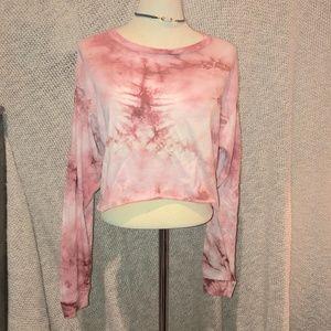 Rue 21 pink tie die long sleeved crop top